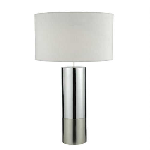 Ingleby Table Lamp Polished Chrome Brushed Chrome complete with Shade (Class 2 Double Insulated)